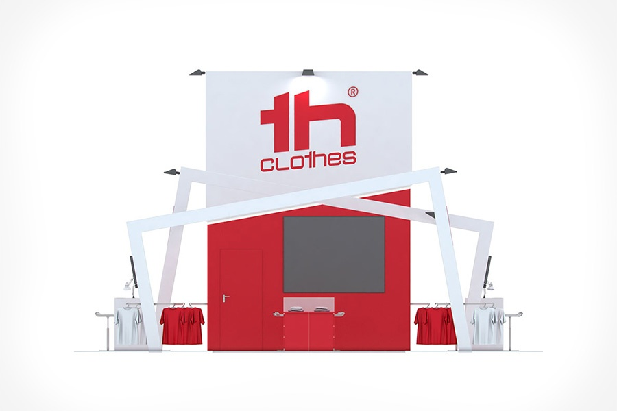 Projeto em 3D do Stand TH Clothes / Biscana - Atto Creative Solutions