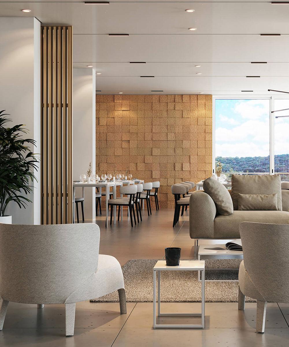 Projeto 3D do interior de Hotel