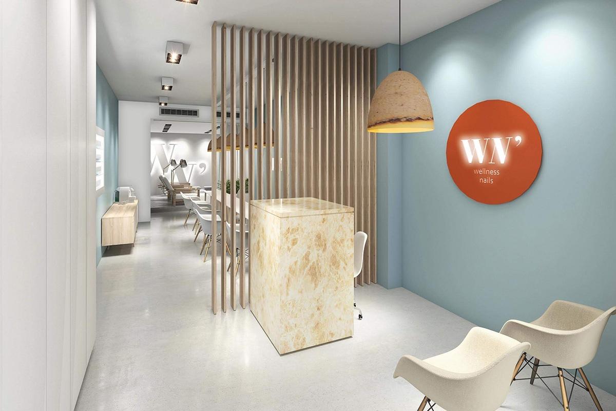 Renderização 3D do espaço Will N' Joy Wellness Nails - Atto Creative Solutions